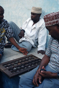 Bao players in stone town zanzibar