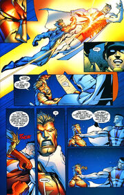 Captain Atom fights Majesic in response to the Wildstorm heroes' treatment of Earth's people Added by Drgyen