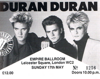 TICKET DURAN DURAN 17 MAY 1987