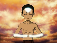 Aang meditating into the Avatar State