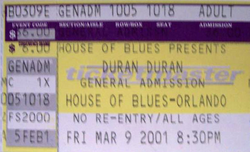 Ticket duran duran house of blues orlando march 9 2001