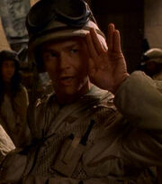 Stargate Major Ferretti gives Vulcan salute
