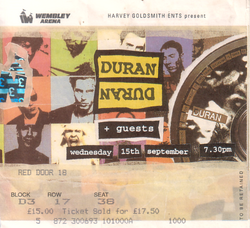 Ticket duran duran wembley 15 september 1993