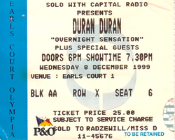 Ticket earls court 8 december 1999