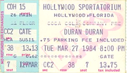 Ticket duran duran hollywood sportatorium hollywood florida march 27 1984