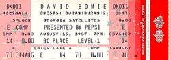 Ticket david bowie duran duran vancouver 1987