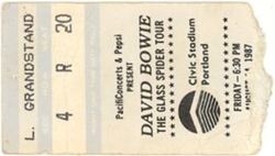 David bowie ticket portland 14 august 1987 A duran duran