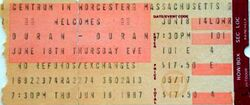 Duran duran Worcester MA (USA) 18 june 1987
