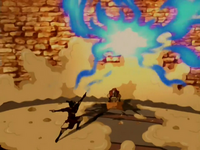 Aang wrecks the drill