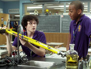 Wesley &amp; Dave In Their Degrassi Uniforms In Degrassi&#39;s Science Room With Wesley Holding His Pogo-Stick