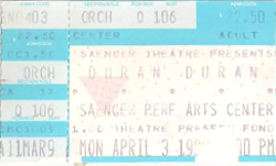 3 - saeger theatre ticket duran duran