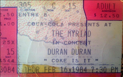 The myriad duran duran ticket 1984