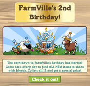 Facebook Farmville Freak farmville 2nd birthday countdown notice