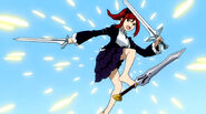 Erza deflecting Evergreen's blade with feet