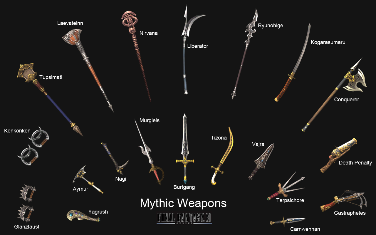 mythic weapons also known as the myriad arms of balrahn are twenty ...