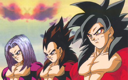 Goku and Vegeta Super Saiyan 4 Trunks