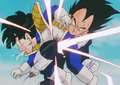 Vegeta kneed gohan in the stomach makeing the young haff saiyan coguh up spit