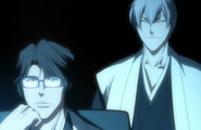 Aizen and Gin watch Ichigo battle Byakuya