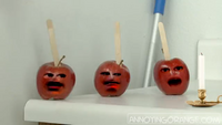 Popsicle stick stab apples