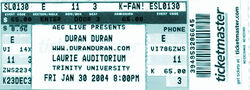 Laurie Auditorium, San Antonio TX, USA. duran duran ticket