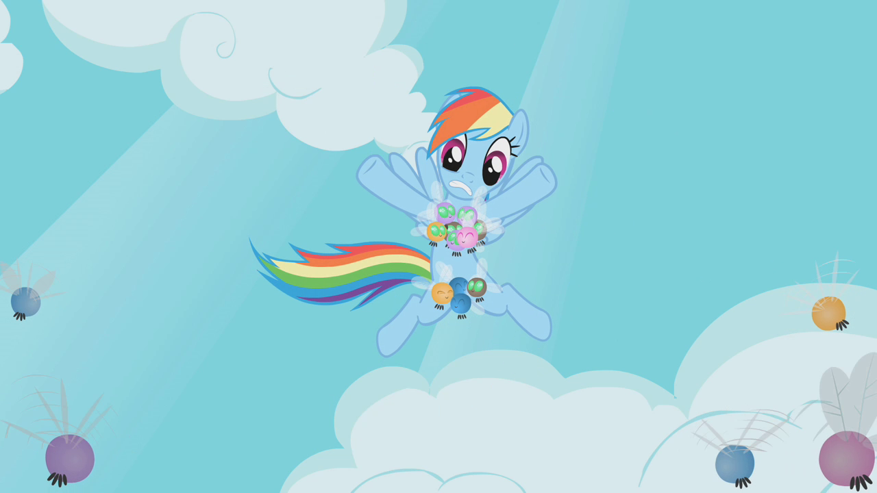 ponies rounding up the parasprites. Rainbow Dash's parasprite bikini