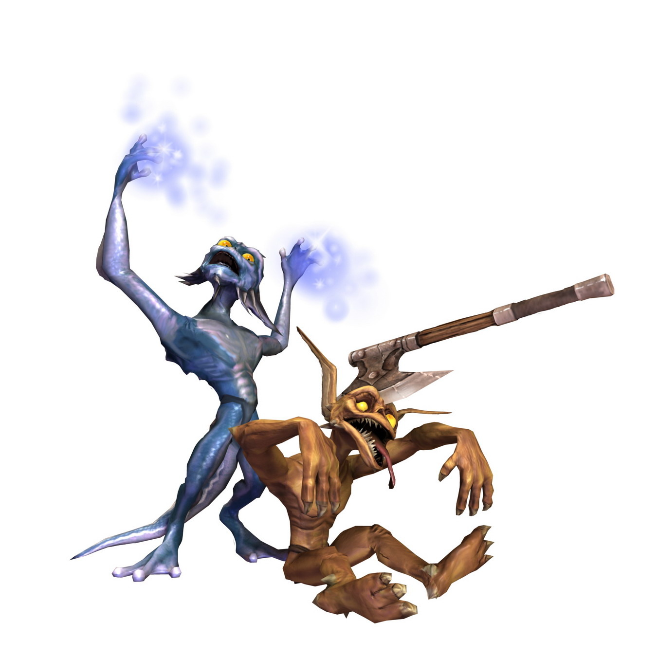 Let the other minions ahead so they clear the path from mushrooms and other stuff blocking the way (#1).Keep in mind that only the blues are magic resistant so only they can kill the whisps - another source of blue .