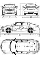 Чертёж (схема) авто Saab авто 9-5.