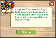 Giant Balloon Tree Growth Message