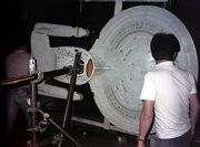 USS Enterprise-D six-foot model mounted for filming at ILM