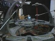 Deep Space Nine studio model with camera test models of the USS Enterprise-D and a Galor class vessel
