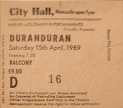 Ticket show duran duran newcastle vinyl discography discogs wikipedia