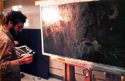 Chris Evans painting the Genesis cave
