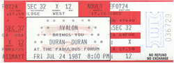 Ticket event Great Western Forum, Inglewood, Los Angeles, CA (USA) - 24 July 1987 duran duran rolling stones