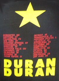 T-shirt tour 1987 usa duran duran