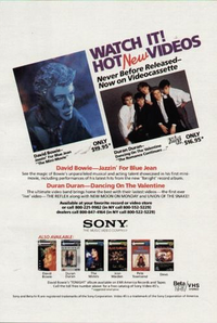 FLYER DAVID BOWIE RARE DURAN DURAN WATCH VIDEO SONG
