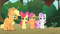 Applejack surprised that the CMC are not happy with the tree house S1E18