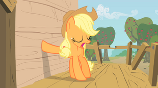 Applejack places her hoof on the tree-house&#39;s wall S1E18