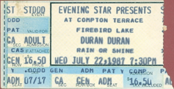 Ticket 1987 duran duran Compton Terrace, Phoenix, Arizona, USA 22 july