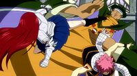 Erza arrives to save Natsu