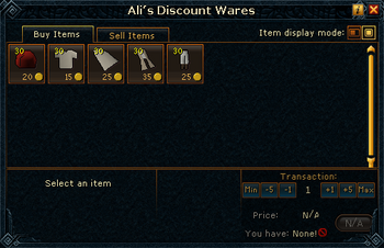 Ali's Discount Wares (Desert clothing) stock