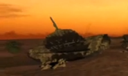 Medium Tank destroyed in desert