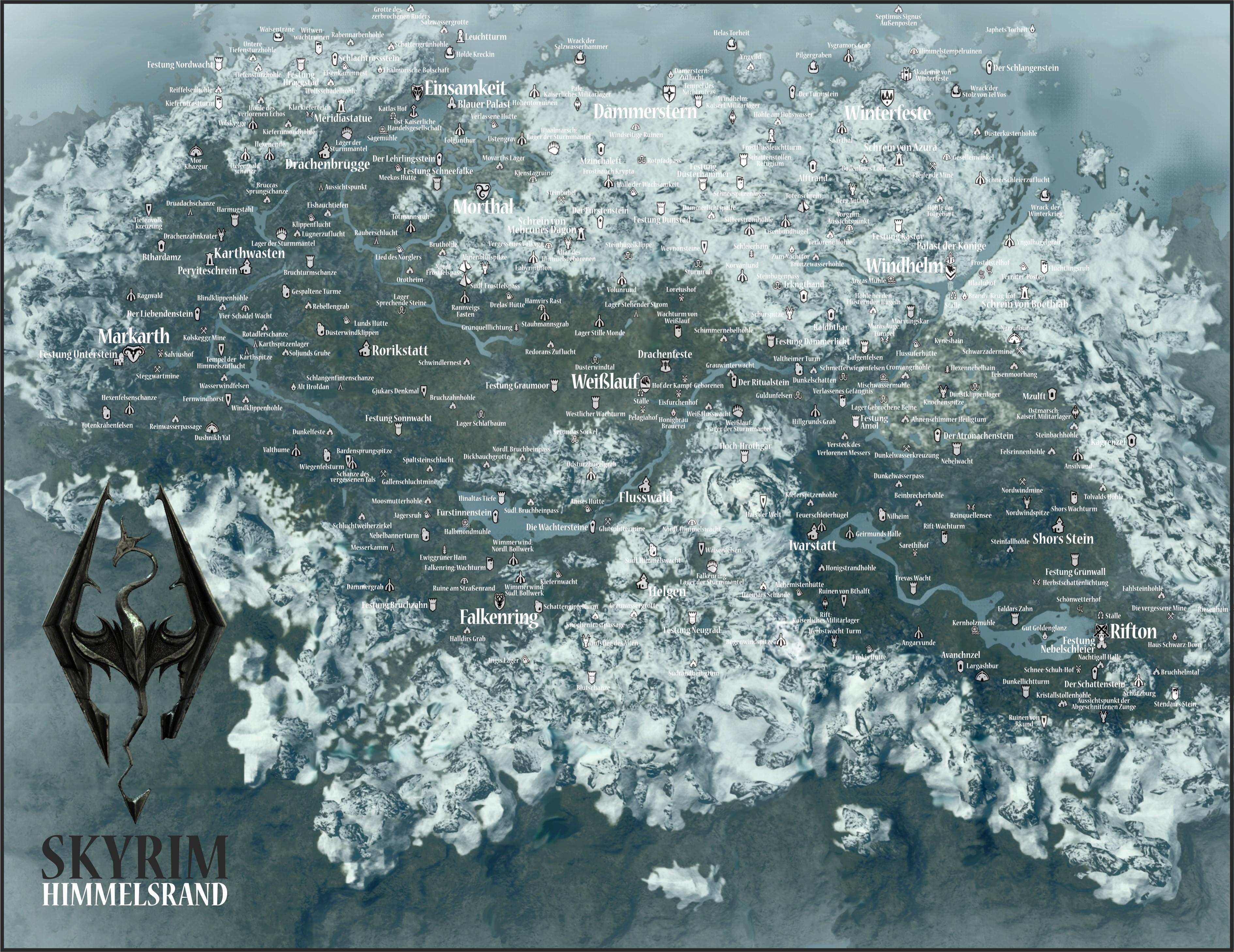 Полностью Открытая Карта Скайрима