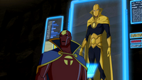 Red Tornado briefing the Team