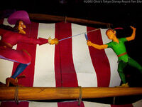 Peter Pan fights Captain Hook in Peter Pan's Flight from Tokyo Disneyland
