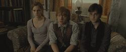 Harry, Ron and Hermione during the reading of Dumbledore&#39;s will