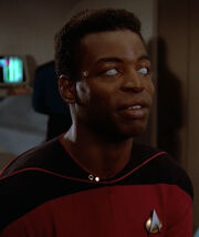 Geordi La Forge without his VISOR