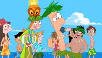Ferb singing at the beach