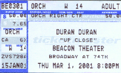 Ticket Beacon Theater - March 1, 2001 wikipedia duran duran