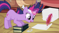 Twilight writing on a paper S2E20