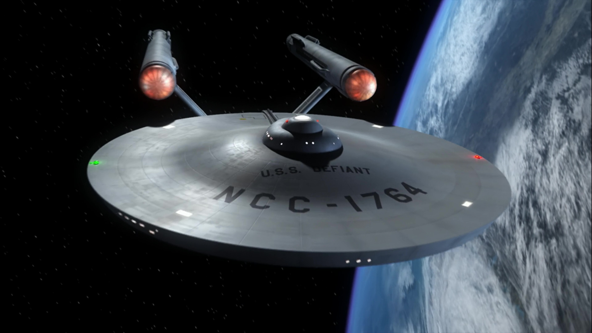 USS Defiant orbiting Earth, 2155